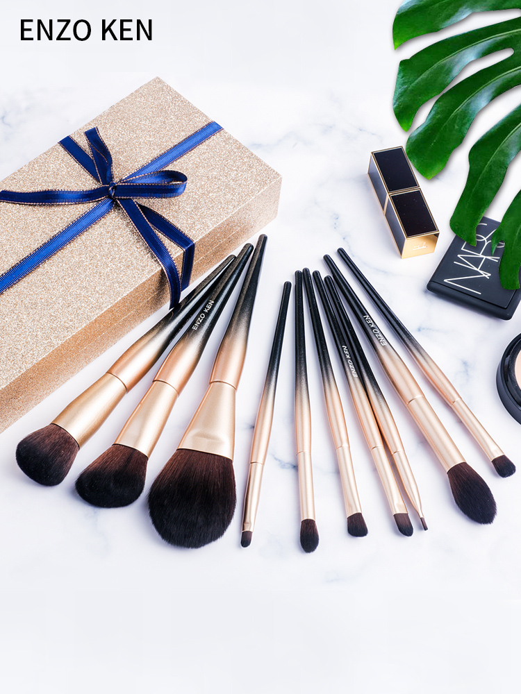 Makeup Brushes Set Merry Christmas Gift for Women ENZO KEN 10Pcs Synthetic Blush Brush Powder Makeup Brushes Set Professional