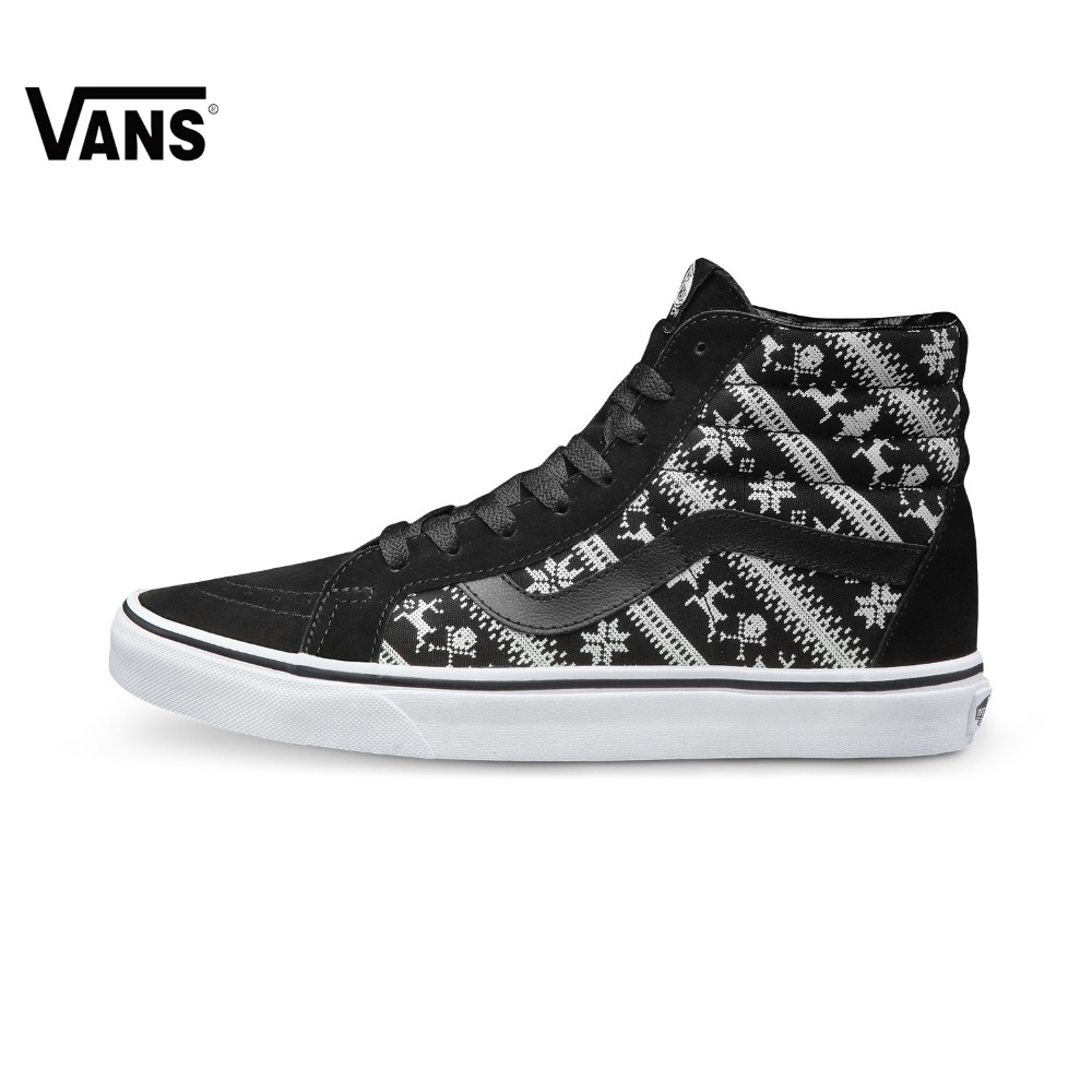 6ba0e370367 Original Vans Shoes Black White Colour Women s High-top Trainers Sports  Skateboarding Shoes Breathable Classic Canvas Vans