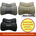 New Arrived 2pcs/set Car Styling Genuine Leather Auto Car Headrest Neck Head Pillow Sweat Cushion Covers For Porsche Free ship
