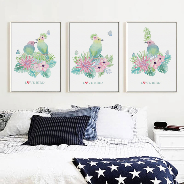 Us 2 75 49 Off Modern Decorative Watercolor Love Bird Canvas Painting Poster And Print Art Picture Wall Living Room Bedroomhome Decoration In