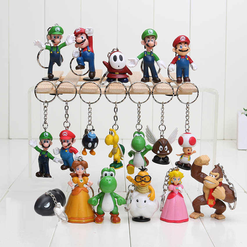 18pcs/set Super Mario Bros Luigi youshi mario keyring peach koopa donkey kong Action Figures Toy pendants keychain can choose