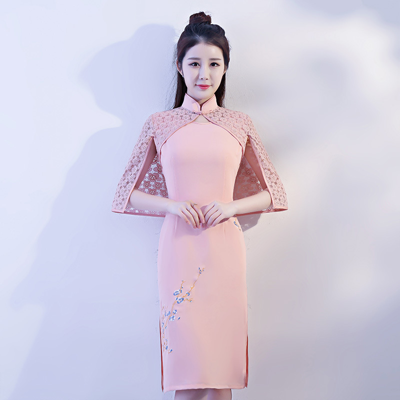 New Arrival Chinese Style Pink Linen Lace Dress Women Slim Short Qipao Mandarin Collar Short Sleeve Cheongsam Size S M L XL XXL