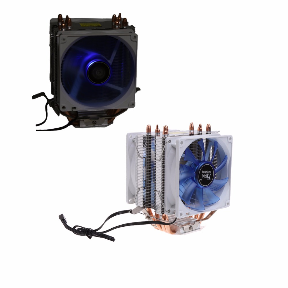 12V Dual CPU Cooler Blue LED 3Pin Fan Aluminum Heatsink For Intel LGA775 AMD AM3 + 1PC Thermal Grease New Drop shipping computer cooler radiator with heatsink heatpipe cooling fan for hd6970 hd6950 grahics card vga cooler
