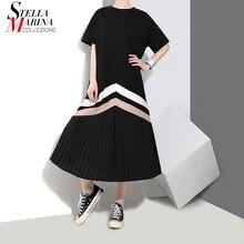 새로운 2020 한국 여름 여성 블랙 블루 긴 Pleated 드레스 스트 라이프 플러스 사이즈 레이디 귀여운 캐주얼 드레스 가운 Femme 루스 스타일 3412