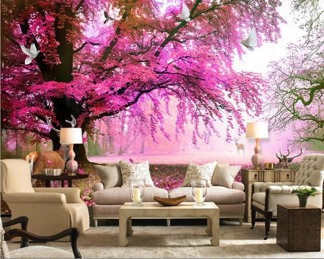 Beibehang Fantastic cherry tree sika deer TV background wallpapers ...