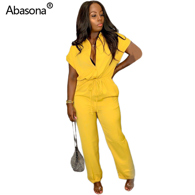 Abasona New Solid Bat Sleeve Lace Up Full Length Casual Regular Jumpsuit Fashion Hot Selling Playsuit for Women's Office Wear(China)