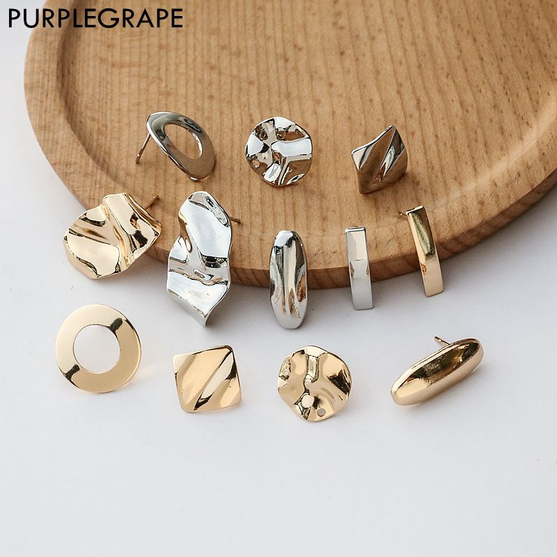 Color-protected copper Stud earring DIY Jewelry accessories handmade material ring square curved oval large geometry 6pcs