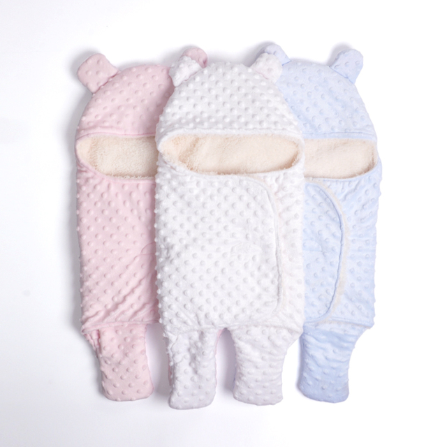 Diseño del oso Super Suave Minky Wigh Protable Sherpa Caliente Hermosa Para La Bahía de niños Populares Del Bebé Swaddle Mantas Bebé Saco de dormir
