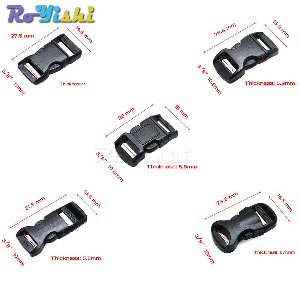 """1 stks 3/8 """"(10mm) Voorgevormd Side Release Mini Gespen Paracord Armband/Kat Halsbanden Zwart"""
