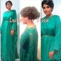 2017 Arabia Saudita Gasa Caftán Marroquí Kaftan Dubai Abaya Kaftan Mujeres Formal de Los Vestidos Vestidos de Noche Con Cuentas de Manga Larga