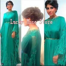 2017 Saudi-arabien Chiffon Kaftan Dubai Abaya Kaftan Frauen Formale Kleider Marokkanischen Kaftan Abendkleider Mit Perlen Langen Ärmeln