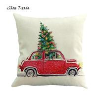 4PC Christmas Pillows Cover Pillow Case Home Bed Soft Waist Throw Cushion High Quality Home Seat