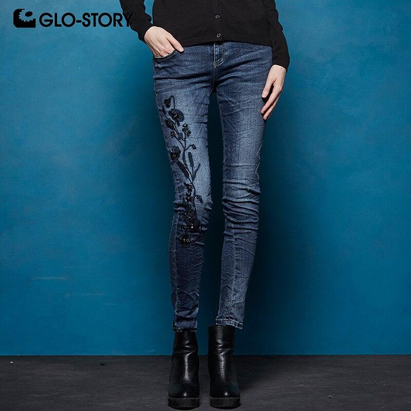 GLO-STORY femmes Floral brodé haute Stretch doux déchiré en détresse Skinny Jeans femme Denim pantalon WNK-7723
