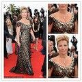 2017 Festival de Cannes vestidos de fiesta Lace Frisada Cristais Com Mangas Curtas Backless Evening Prom Vestido Da Celebridade da Ocasião Especial