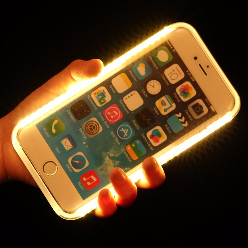 selfie luxury light up glowing phone cases for iphone 7 6. Black Bedroom Furniture Sets. Home Design Ideas