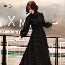 Party-Dress Evening-Dresses Long-Sleeves Muslim Elegant Weiyin Black Women Fashion A-Line