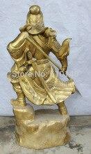 K@@AA@40″ Chinese Folk Brass General Guan Gong Yu Warrior God Wear Dragon Robe Statue