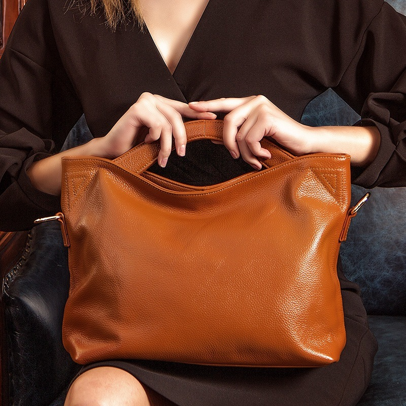 LUYO Vintage Women Natural Soft Genuine Leather Bag Simple Handbag Fashion Casual Shoulder Bag OL Tote Handbags Top-handle Bags luyo genuine leather casual tote big bag handbag basket shoulder top handle bags female women designer handbags bolsa feminina