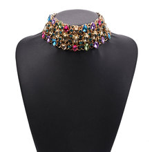 Luxury Flash Teardrop-shaped Crystal Short Clavicle Necklace Exaggerated Female Fashion Europe and the United States