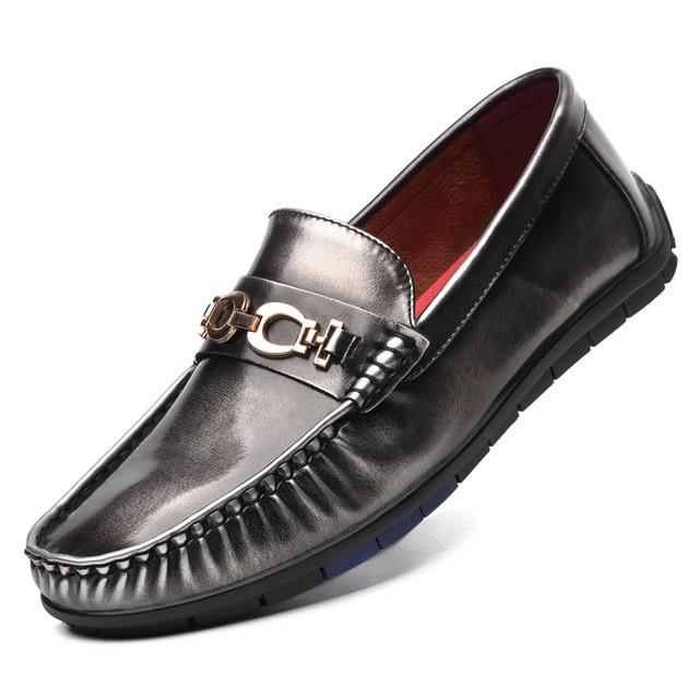 Los Hombres de la vendimia Hombres Zapatos Mocasines de Cuero Suave Casual Slip On de Plata Rojo Negro