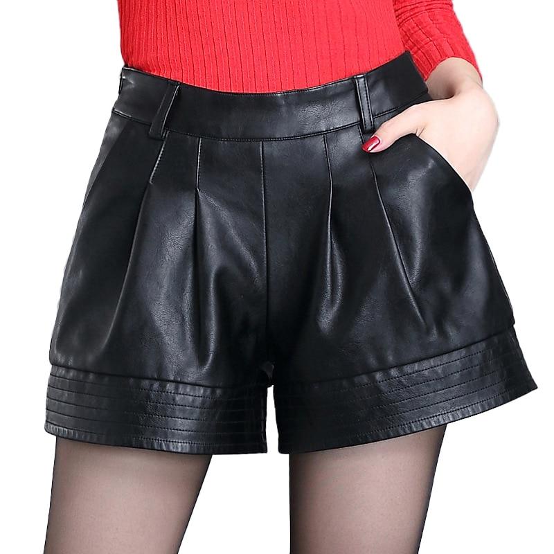 Fashion Women PU leather Shorts Female Loose Fit Draped Sexy Shorts Night Club Mini Short Pants For Female Wide leg Shorts N747 Price $35.78