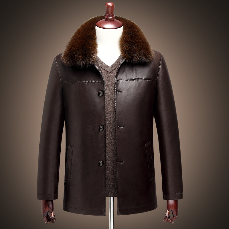 2016 Winter New fashion Men's genuine leather coat fox fur ...