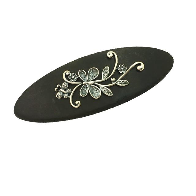 Handmade Thai Silver Ebony Barrettes Vintage Silver Inlay Wooden Barrette Flower Hairgrip Hair Accessories 9x3cm WIGO1233