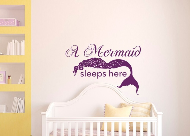 Wall Decal Sleep Mermaid Wall Sticker For Kids Room Girl Children Bedroom  Poster Home Decals Decor