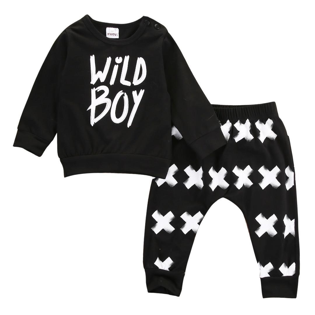 2Pcs Newborn Baby Boy Girl Clothes Long Sleeve Wild Boy T shirt Cross Long Pants Leggings