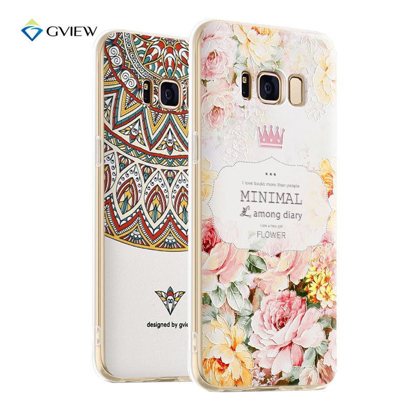 Galleria fotografica Gview 3D Relief Printing Clear Soft TPU Case For Samsung Galaxy S8 Phone Back Cover Ultra-thin Fundas For Samsung Galaxy S8 Plus
