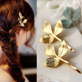 4 PCS Gold Leaf Hair Accessories Vintage Metal Golden Leaves Hair Pin Hair Clip Women Barrette Head Decoration