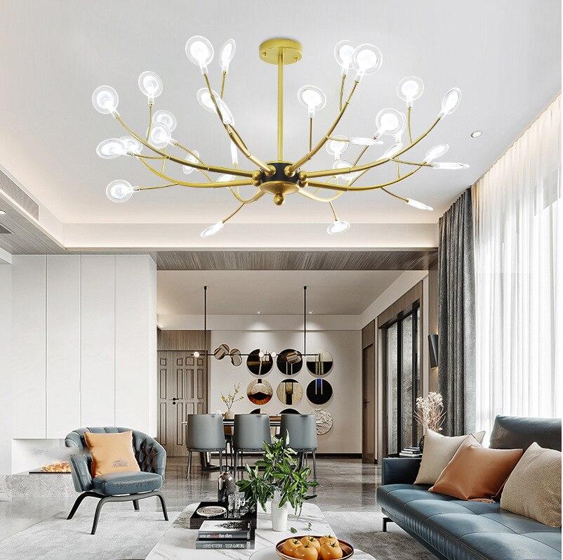 Post-modern LED chandelier Nordic Firefly lighting Aluminum hanging lamp for living room restaurant  bedroom fixtures