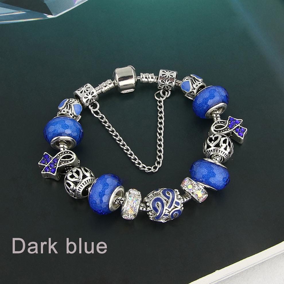 Glass Bead Charm Bracelet - dark blue