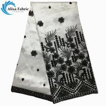 Alisa Special Indian George Lace Fabric High Quality Embroidery African  George Satin Lace Fabric with sequins For Women Dress 4ad6d76adcb5