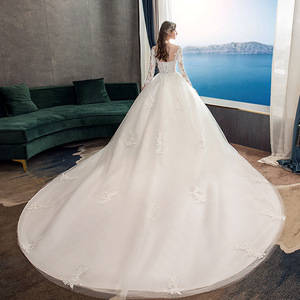 Image 3 - 2019 New Classic Off White O Neck Long Sleeve Wedding Dress Simple Lace Embroidery With Train Custom Made Slim Bridal Gown L