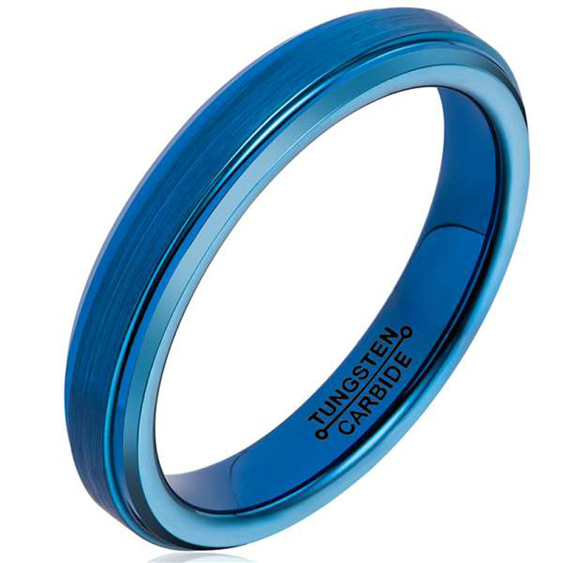 2016 Fashion Unisex 4MM Width Tungsten Rings Blue Plated Brushed Finishing Surface Comfort Fit Band Size 4-12 and Half