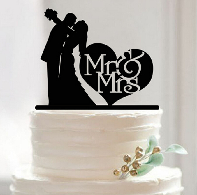 Free Shipping Bride Groom Silhouette Engagement Cake Topper Black Acrylic Flower Wedding Decoration In Decorating Supplies From Home