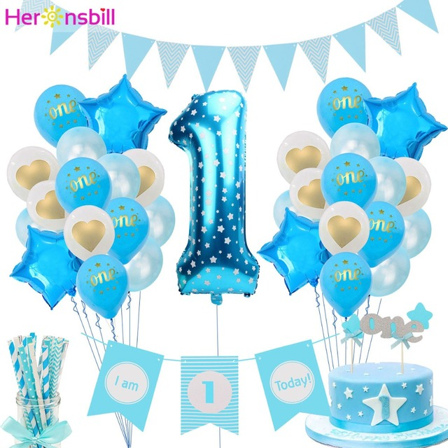 Heronsbill 1st Happy Birthday Party Decorations My First Baby Boy Girl Helium Number 1 Balloons Banner