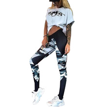 Polyester 2017 Summer Style Women Leggings Elastic Push Up Camouflage Splice Harajuku Fitness Sporting Leggings For Women Pants