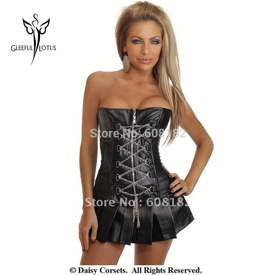 Горячая сексуальное черное кожаное платье с корсетом Талия тренерские корсеты и бюстье-корсаж корсет пояс для женщин формирователь тела