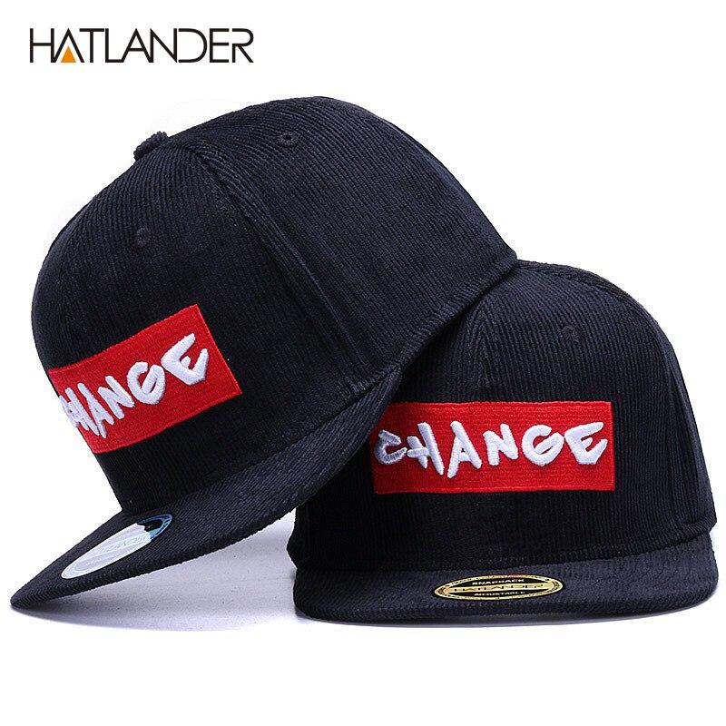 HATLANDER Brand black corduroy baseball cap original hats men snapback cap embroidery CHANGE letter sports flat brim hip hop hat