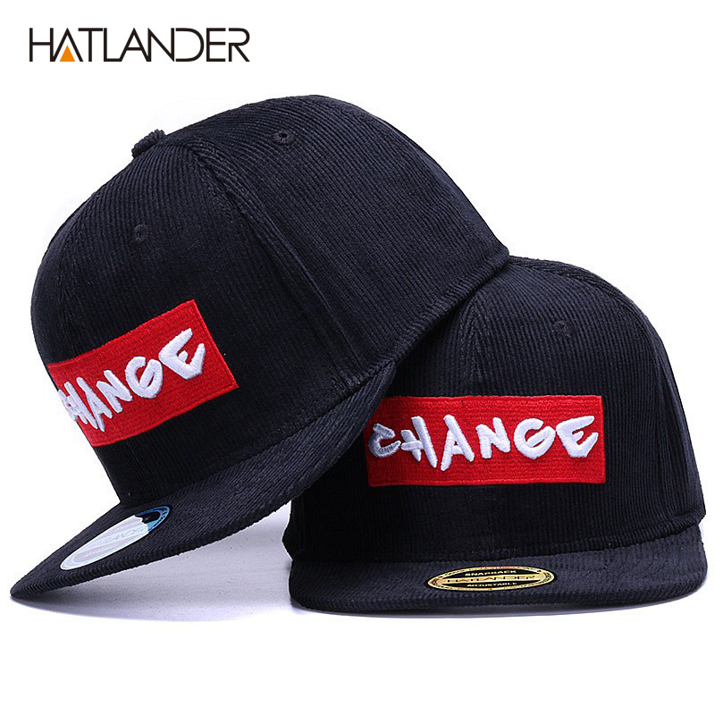 HATLANDER Brand black corduroy   baseball     cap   original hats men snapback   cap   embroidery CHANGE letter sports flat brim hip hop hat