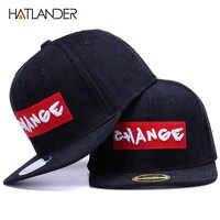 HATLANDER di Marca nero di velluto a coste cappelli degli uomini di snapback della protezione del berretto da baseball originale CAMBIAMENTO ricamo lettera di sport piatto tesa del cappello di hip hop