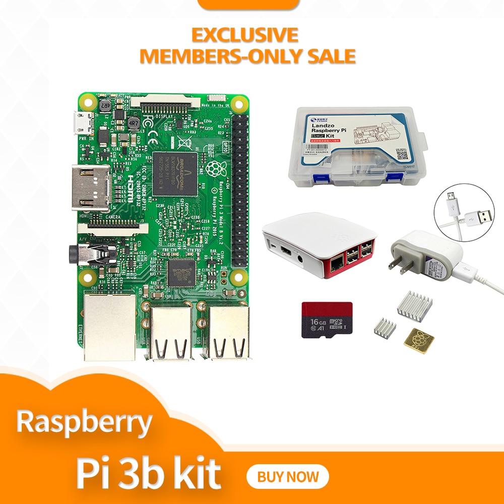 Kit-Raspberry Pi raspberry pi Placa + 5 3 V 2.5A EUA fonte de Alimentação + Caso + Dissipador de Calor para 3 Raspberry Pi Modelo B wifi & bluetooth