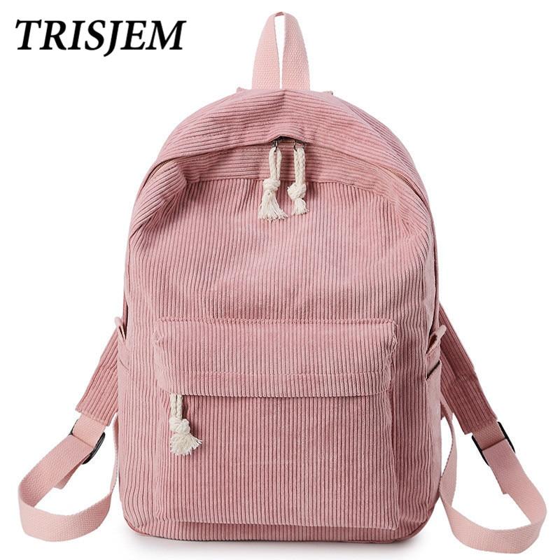 TRISJEM School Backpack Bags For Teenage Girls Backpack Women Bagpack Female Bolsa Escolar Kawaii Corduroy bookbag Harajuku Bag corduroy goes to school