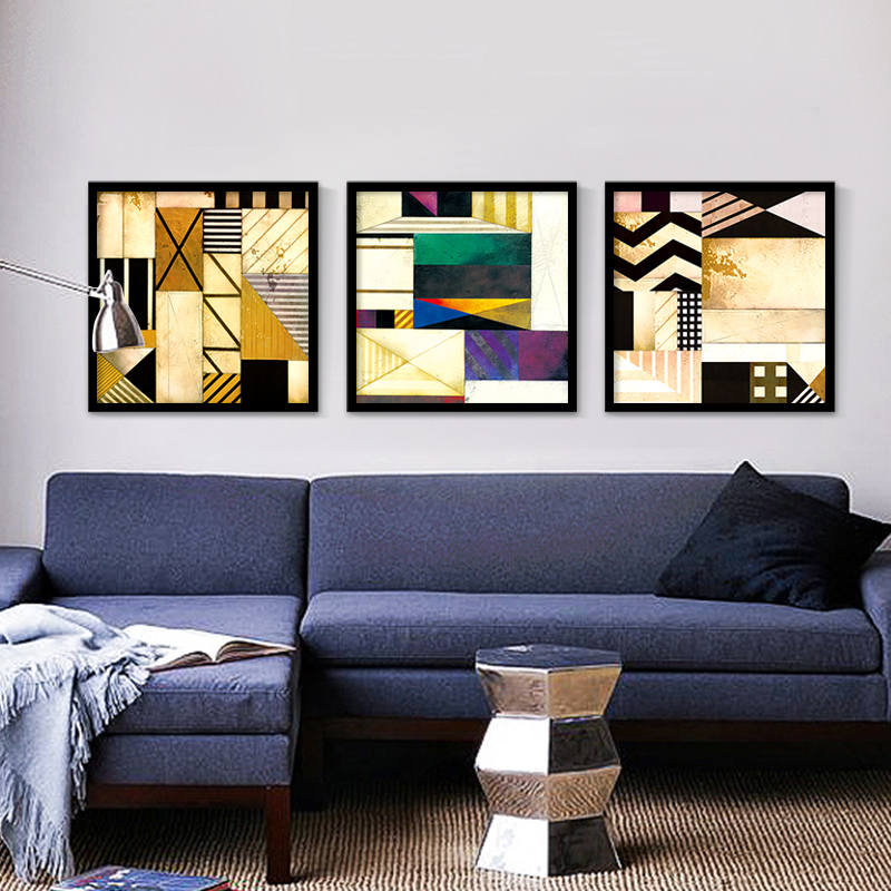 Colorful Room Decor Paint: Geometry Stitching Pattern Oil Painting Colorful Triangle