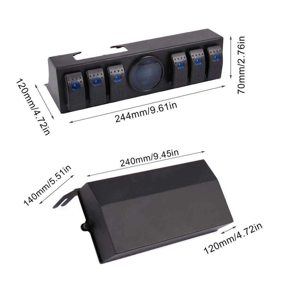 6 Gang Rocker Switch Panel Switch Control Panel Sytem with Voltage Meter Digital Display for Jeep Wrangler JK TJ