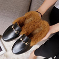 European Fashion Loafers Flats Women Fur Added Short Plush Hardware Slip on Faux Leather Flat Shoes Quality Rubber FL049