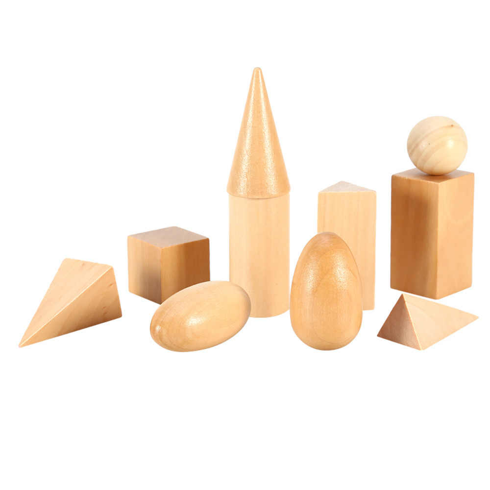 10Pcs/Set Wooden Geometric 3D Shapes Solids Geometry Blocks Set Kids Math  Toys Good Learning Education Toys For Baby Kids Gifts