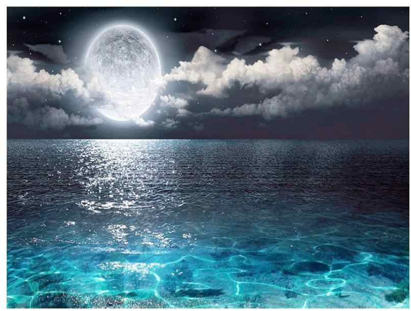 Mer lune diamant broderie pleine ronde diamant peinture autocollant paysage tapisserie diamant dotz image diamant cristal affiche